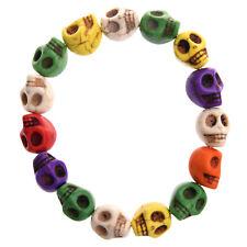 Braccialetto bracciale in turchese a forma teschio multicolore D2C8