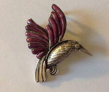 Hermoso Pájaro Broche/colgante de plata esterlina con alas Bloodstone