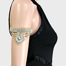 Lush Crystal Gold Upper Arm Chain Cocktail Bracelet Cuff By Rocks Boutique
