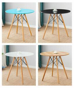 Round Dining Table Black White Oak Retro Design Wood Legs Beech - 80cm Diameter