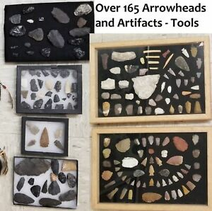 165+ Piece Authentic Arrowhead, Tool and Artifact Collection - Few are Modern