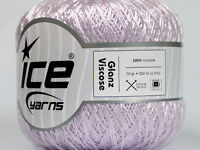 Lot of 6 Skeins Ice Yarns GLANZ VISCOSE (100% Viscose) Wool Light Lilac