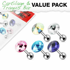 5 Pack of Cartilage Tragus Bars piercings with Pointed Gem Tops Surgical Steel
