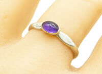 925 Sterling Silver - Vintage Petite Oval Cut Amethyst Band Ring Sz 9 - R12291
