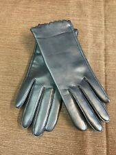 New Vtg Soft Navy Blue Nylon Aris Vinyl Driving Gloves ~ Size Med.