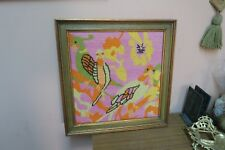 "Vintage Hand Stitched Finished Needlepoint Framed 14"" x 14"" - 17"" x 17"" Parrots"
