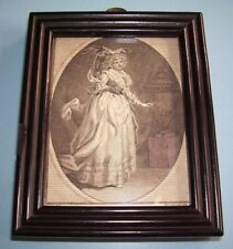 "GEORGIAN PORTRAIT MINIATURE PRINT ""MRS BARNES IN ANNE BULLEN"" OLD FRAME d.1786"