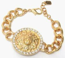 Chunky Lion Head Chain Link Bracelet Crystal Accents
