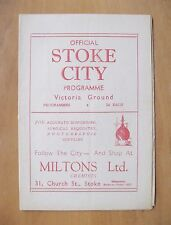 STOKE CITY v SHEFFIELD UNITED 1946/1947 *Excellent Condition Football Programme*