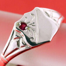 Ring Real 925 Solid Sterling Silver Ruby Antique Engraved Signet Design O 7