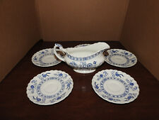 5 J&G Meakin Onion Pattern Classic White Saucers With Gravy Boat