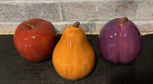 """Apple Pear Plum Set Of 3 Ceramic Home Brand 4"""" Tall. Vtg feel Ceramic Fruit"""