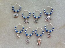 HALLOWEEN WINE GLASS CHARMS set of 8 handcrafted beautiful and unique blue beads