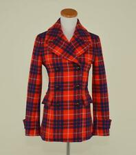 J.CREW $398 WOOL HAMILTON PLAID PEACOAT 00 RED NAVY TARTAN PRINT SHORT COAT