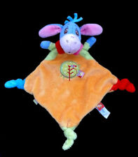 Doudou plat losange Ane Bourriquet orange vert bleu rouge Disney Baby Nicotoy