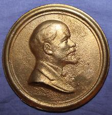 Vintage Soviet Russian brass plaque paper weight Vladimir Lenin