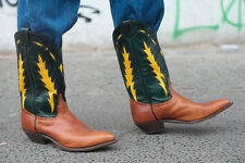 Cowboy Boots botas Western botas True vintage Handmade Leather con suela de cuero