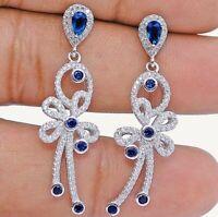 Blue Sapphire & White Topaz 925 Solid Sterling Silver Earrings Jewelry, X1