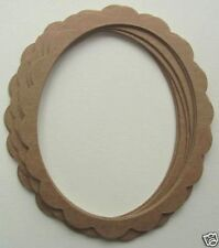 """{6} OVAL SCALLOP FRAME - Bare Picture Frames Chipboard Die Cuts- 3 3/4"""" x 4 1/2"""""""