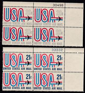 US C75 & C81  - 2 Plate Number Blocks of 4 - 1968 & 1971 - mint/unused - B9391