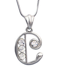 Monogram English Alphabet Initial Letter C Pendant Necklace Clear Crystal