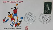ENVELOPPE PREMIER JOUR - 9 x 16,5 cm - 1970 - HAND-BALL CHAMPIONNATS - N° 708