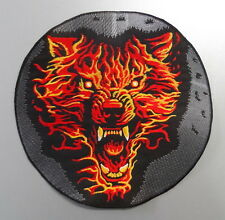 EMBROIDERED BIKER MOTORCYCLE BACK JACKET PATCH - Wolf in flames on moon light