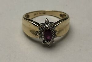 Vintage .585 14K Solid Yellow Gold Ruby & Diamond Estate Ring Size 6.5.  3.55g