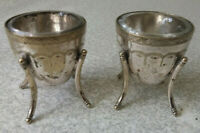LOVELY PAIR  ANTIQUE SILVER PLATED - SPUTNIK -STYLE- SALTS & GLASS LINERS