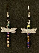DRAGONFLY Earrings Stainless Hook New Crystal Multi color Iridescent