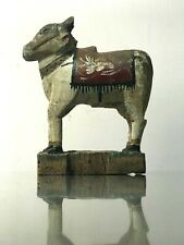 ANTIQUE VINTAGE INDIAN WOODEN TOY. BULL NANDI. SHIVA's VEHICLE. VAHANA.