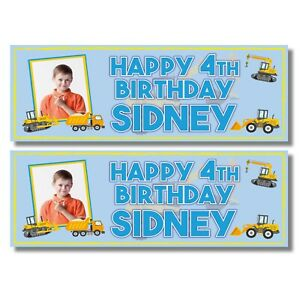 2 PERSONALISED PHOTO DIGGER BIRTHDAY BANNERS - ANY NAME/AGE (800 x 297mm)