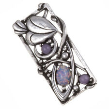 Miracle Pewter Mackintosh Style Sim Opal Cabochon Leaf Rectangle Brooch UK Made