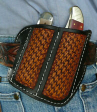 Dual Leather Pocket Knife Sheath Medium/Large Ruff's Saddle Shop Black & Tan