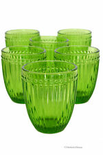 Set 6 Vintage-Style Green Stripe Double Old-Fashioned Whiskey Glass Tumblers