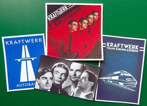 KRAFTWERK, Set of 4 Glossy Vinyl Promo Stickers, TEE, Autobahn, Man Machine