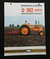 "GENUINE MINNEAPOLIS MOLINE ""U-302 SUPER"" TRACTOR CATALOG BROCHURE NICE"