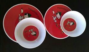 Pottery Barn Cambria Peanuts Snoopy Happiness Marshmallows Set Plates Bowls