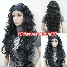Charm Ladies wig Long natural Black 3/4 with headband Curly Wavy half wigs