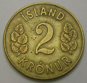ICELAND 2 Kronur 1946 - Aluminum/Bronze - VF- - 1690
