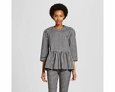 Victoria Beckham Target Blue & White Gingham Peplum Top Large In Hand Now NWT