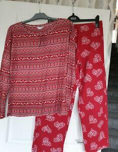 BNWT Marks And Spencer's Red Print Xmas Pyjamas Size 12
