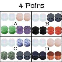 "4 Pairs Natural Stone Ear Gauges Plugs Saddle Ear Expander Piercing 2g-5/8"""