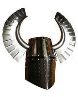 X-Mas 18Ga Medieval Templar Crusader Knight Armour Great Helmet With Metal H