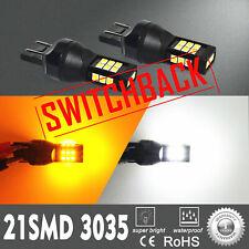 Alla Lighting 2x 3035 21-LED 7443 White Yellow Switchback Turn Signal Light Bulb