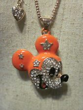 BETSEY JOHNSON RHINESTONE CRYSTAL BEADS SUPERSTAR MICKEY MOUSE NECKLACE 26""