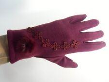 Gants bordeaux hiver femme chauds tactiles compatibles smartphone pompon fleurs