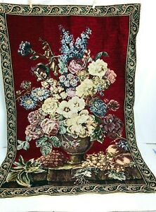 """Floral Vase Fruit Woven Tapestry Traditional Burgundy Background 40"""" X 28"""""""