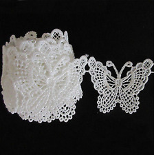 Fashion White Butterfly Lace Edge Trim Ribbon Applique cn Sewing Wedding Craft