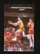 Minnesota Golden Gophers-1990-91 Basketball Pocket Schedule-Wcco